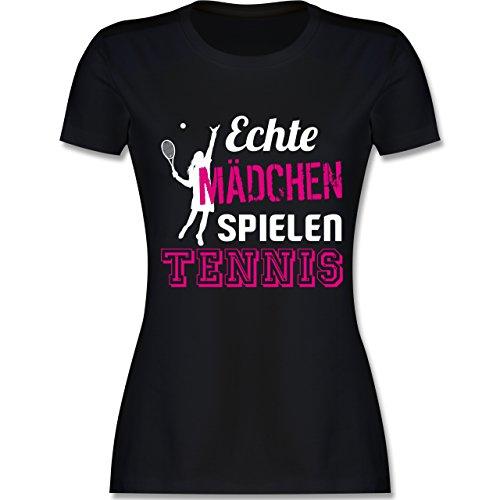Tennis - Echte Mädchen Spielen Tennis - M - Schwarz - L191 - Damen Tshirt und Frauen T-Shirt