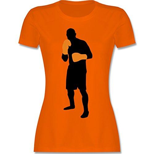 Kampfsport Box Grundstellung tailliertes Premium TShirt mit  Rundhalsausschnitt für Damen Orange