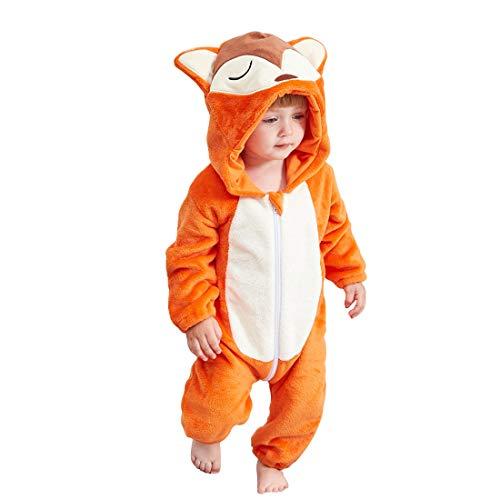 Xlabor Kinder Tier Kostüme Tieroutfit Flanell Pyjama Cosplay Jumpsuit Schlafanzug Mädchen Jungen Winter Nachtwäsche Fuchs 90