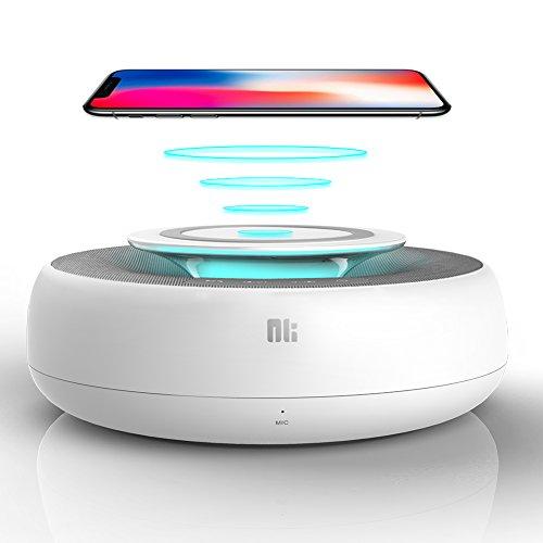 Bluetooth Lautsprecher und Qi Ladegerät, 2 in 1 Kabellose Portabler Heimlautsprecher mit Mikrofon, AUX-Line und Reinem Bass, 360° Surround-Sound Funklautsprecher, Kabelloses Laden für iPhone, Samsung