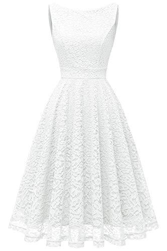 bbonlinedress Damen Retro Charmant Ärmellos Rundhals Knielang mit Spitzen Floral Rockabilly Cocktail Abendkleider White XL (Weißes Kleid Frauen Party)
