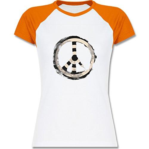 Statement Shirts - Zielscheibe Frieden - target peace - zweifarbiges Baseballshirt / Raglan T-Shirt für Damen Weiß/Orange