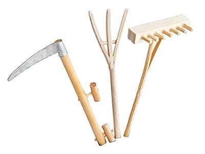 Kimmerle Miniatur Gartengeräte aus Holz 3er-Set ca 9cm Dekoration Modelbau Landschaft Puppen natur Rechen Sense Heugabel von Kimmerle