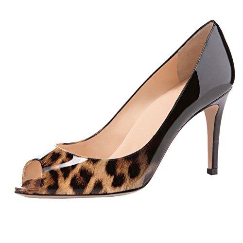 elashe Damen Peeptoe Pumps | 8cm Stiletto High Heel | Bequeme Lack Stilettos Schwarz Leopard EU39 Leopard Patent High Heel