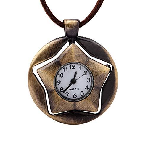 BEAUTY CHOU Halskette retro 360 Grad fünfzackigen Stern Taschenuhr Pullover Halskette Damen Halskette 2 Durchmesser 47cm