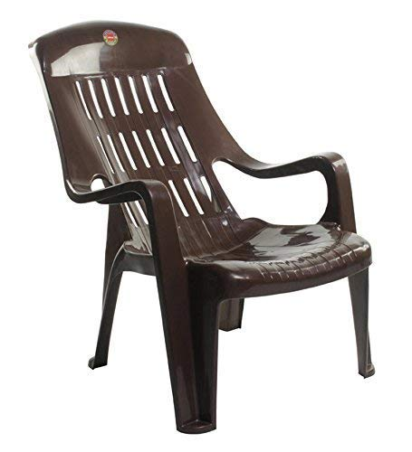 Furniture Dealz Cello Comfort Sit Plastic Chairs (Standard Size, Brown) -Set of 2