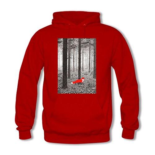 HGLee Printed Personalized Custom Lovely Red Fox Women's Hoodie Hooded Sweatshirt Red