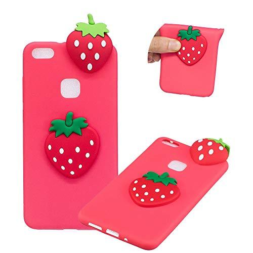 TPU Hülle für Huawei P10 Lite,Weich Silikon Hülle für Huawei P10 Lite,Moiky Komisch 3D Erdbeere Entwurf Ultra Dünnen Scratch Resistant Soft Rückseite Abdeckung Handyhülle