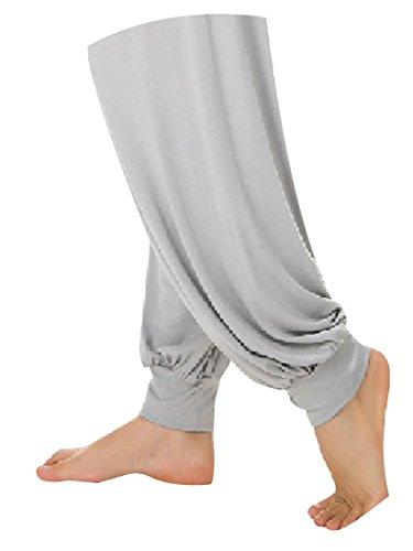 Aivtalk-Sarouels Pantalon Yoga Bouffant Modal pour Femme -Bloomer Elastique Extensible - Harem Pants Danse Pilates Sport - 14 Couleur Optique - S-XL Gris