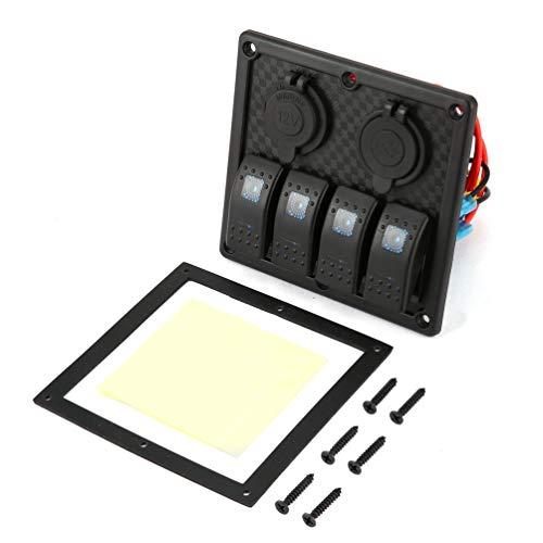 Wenwenzui 5 PIN 4 Gang Waterproof RV Car Marine Boat Circuit Breaker LED Switch Panel Black - Marine Breaker Panel