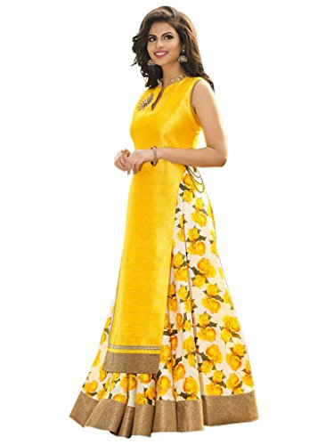 Alka TEX Benglori Silk Printed Bhagalpuri Lehenga Choli For Women ( Yellow...