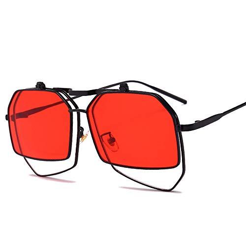 WULE-Sunglasses Unisex Herrensonnenbrillen Unregelmäßige Sonnenbrillen Normalerweise sind Uv-Schutzbrillen für neutrale Sonnenbrillen geeignet (Farbe : Rot)