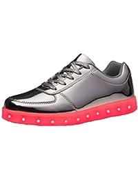 (Present:kleines Handtuch)Gold EU 35, Luminous Schuhe Farben 7 Leuchten Turnschuhe Unisex Paare Herren Ladegerät LED Schuhe Damen US