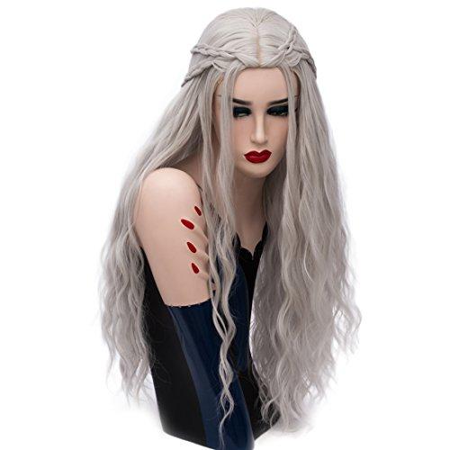 priomix Fashion New Style Braid lang gelockt Anime Cosplay Kostüme Perücken für Daenerys + kostenlose Perückenkappe