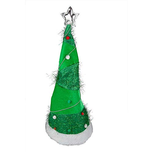 Long Stand Up Xmas Tree Hat for Fancy dress Accessory (Christmas Carol Kostüm Kinder)