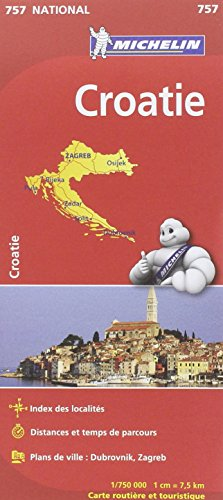 Carte national Croatie - N°757 l'echelle : 1/750000 par Collectif Michelin