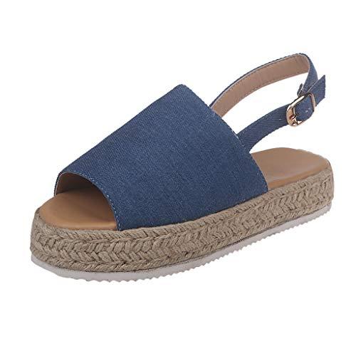 Darringls Sandali Estivi Donna, Scarpe da Donna Eleganti Sandali 2019 Roman Sandali Platform Ladies Wedge Pumps Straw Thick Bottom Shoes Ladies Roman Sandals