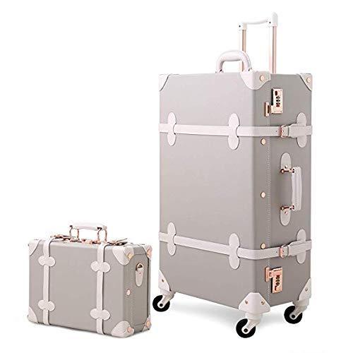 Tronco Valigetta for trolley PU Set di valigie for baule vintage da 2 pezzi (20'-26' Trolley Spinner for bagaglio a mano e borsa da 12'per donna, Valigia con 4 ruote a 360 ° e doppia chiusura adatta