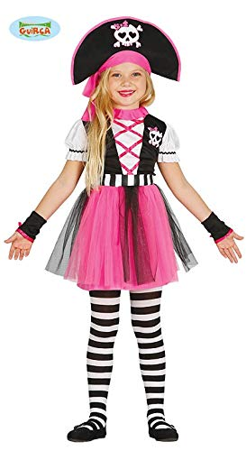 Guirca Pinkes Piratin Kostüm für Mädchen Piratenkostüm Kinder Piraten Pirat Seeräuberin Kostüm Gr. 110-140, Größe:110/116 (Kostüm Mädchen Piraten)