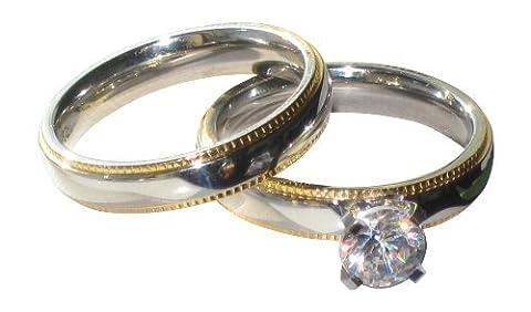 YourJewelleryBox STR451 WEDDING & ENGAGEMENT RING SET CZ STAINLESS STEEL BRIDAL 18KT GOLD FILLED L USA