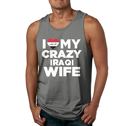 Abigails Home Ich Liebe Meine verrückte irakische Frau Männer Tank Top ärmellose Shirts Tee Basketball Sport T Shirt Tees Outdoor Fitness(XXL,Deep Heather) (Cotton Top Square Tank Cut)