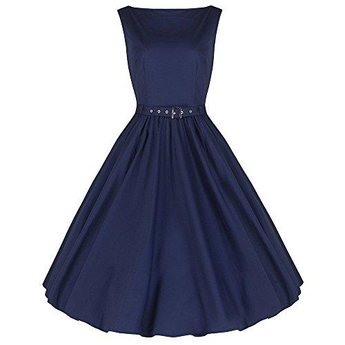 Pretty Kitty Fashion Marineblau Baumwolle Ärmelloses Swing-Kleid (Baumwolle Ärmelloses Kleid)