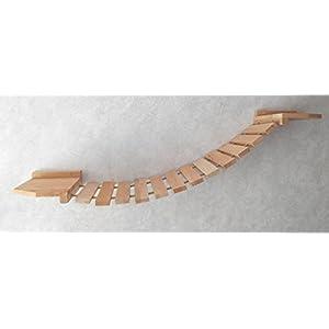 Katzen Wandpark, handgefertigte Tiermöbel / Luxusmöbel, Katzenmöbel in vielen Ausführungen, Kratzbaum / Katzenbaum für die Wand. Hier: Hängebrücke 120 x 25 cm (3221ab)