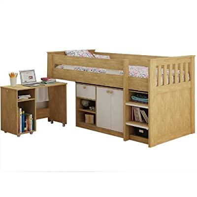Seconique Merlin Study Bunk in Oak and White Wood