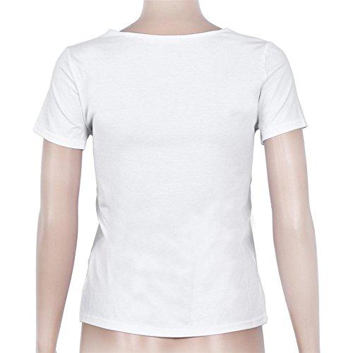 Femme Hauts d'été , Col en V Couleur Unie Manche Courte T-shirt Chemise Blanc