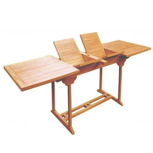 Mesa de jardín-mesa de jardín extensible de teca rectangular con doble 12/14plazas