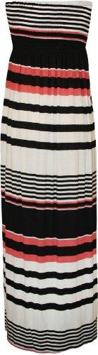 WearAll - Übergröße Damen Bedruckt Trägerlos Bandeau Maxi-Kleid - 5 Mustern - Größen 44-52 Schwarz Gestreift