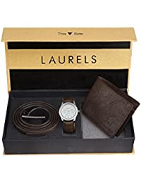 Laurels Leather Silver Men's Wallet with Watch and Belt