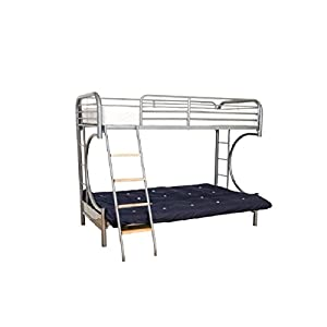 AJ Cynthia futon metal silver bunk bed trio 3ft 4ft6 + memory foam + futon mattress