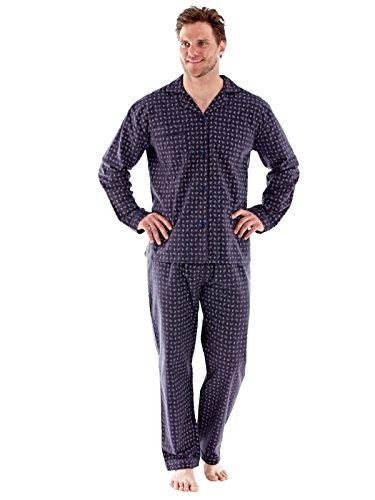 Herren 100 % gebürstete Baumwolle PAISLEY Flanell Pyjama Nachthemd Kleider M - XXL Grau Pyjamas