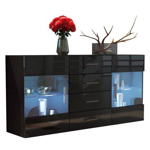 Buffet Dressoir Bari, Corps en Noir mat / Façades en Noir haute brillance
