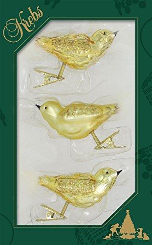 Krebs Glas Lauscha Gold und Satin-Goldene Vögel auf Clip aus Glas - Christbaumschmuck - Glasschmuck - 3 Stück - 12,7 cm