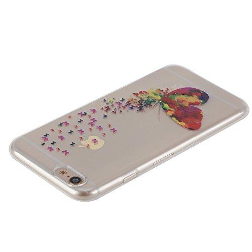 """Hülle für iPhone 6Plus, für iPhone 6sPlus CLTPY Extra Clear Crystal Kreativ Bunte Malerei Series TPU Gelee Schutzfall, Ultradünn Weichem Stoßfest Silikon Protektiv Handytasche für 5.5"""" Apple iPhone 6P Bunter Schmetterling"""