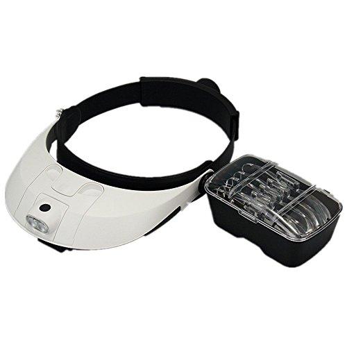 LAOYE Kopflupe Stirnlupe Kopfbandlupe Brillenlupe mit Beleuchtung ( 2 LED )+ 5 Vergrößerungsglas