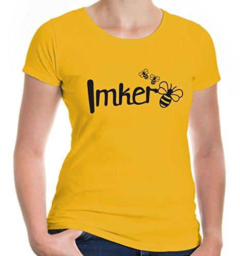 buXsbaum Damen Girlie T-Shirt Imker | Biene Honig Bienenzüchter Bienenflüsterer Bienenvolk | L, Gelb