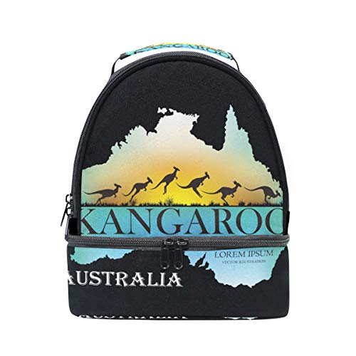 Isolierte Känguru (Australien Känguru-Lunchbox mit Schultergurt, isoliert, für Kinder, Mädchen, Jungen, Erwachsene, Frauen, Herren, Picknick, Schule)