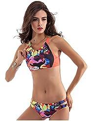 XM Triangle Split Bikini Deux Pièces Swimsuit Printing Swimsuit