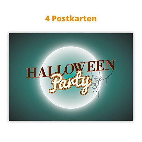 4er Set Coole Spinnweb Einladungs Postkarten zu Halloween: Halloween Party