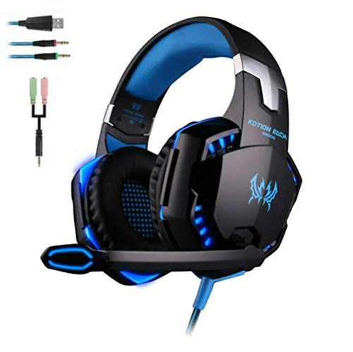 Gaming Headset für PS4, TopDiscover EACH G2000 Over Ear Kopfhörer PC mit Mikrofon Surround Sound und Leds Noise Cancelling für Xbox One/PC/Iphone/Laptop/Mac/Handy (mit Adapter) Headphone mit Mic Heavy Bass LED Light for PC Gamer