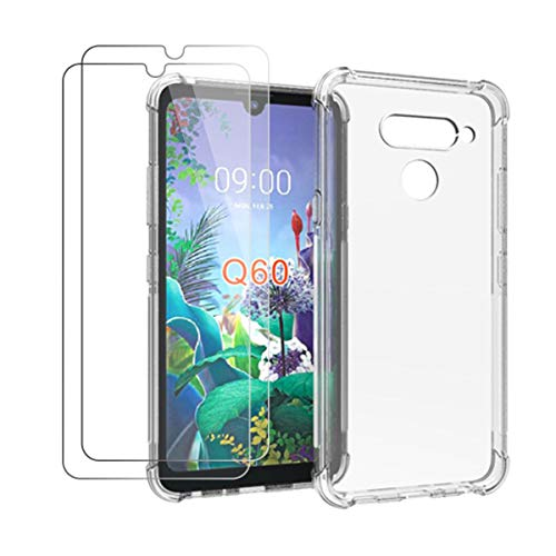 HYMY Funda para LG Q60 + 2 x Cristal Templado - Transparente Tapa TPU Silicona [Refuerzo de Cuatro Esquinas, Absorción de Golpes] Caso Carcasa para LG Q60 (6.26')