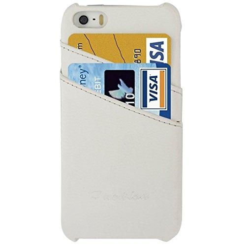 wkae Schutzhülle Fall & Bezug Litchi Textur Echtleder Back Cover Case mit Kartenfächern und Fashion Logo für iPhone 5/5S weiß