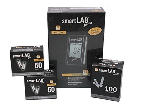 smartLAB genie Bundle Il monitoraggio del glucosio nel sangue | Misuratore di glucosio nel sangue per il diabete | Accurate misurazioni di glucosio nel sangue con grande display
