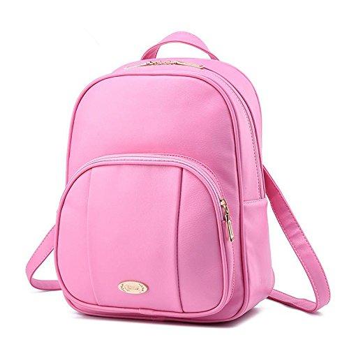 HQYSS Damen-handtaschen PU Leder koreanischen lässig Vertikalschnitt geprägte Volltonfarbe Studentinnen Rucksack Tasche , pink (Tommy Hilfiger Tasche Pink)