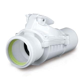 Rückstauverschluß Bad Küche 50 mm Abwasser Rohr Rückstau Abfluss Version A weiß