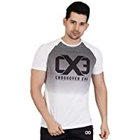 Crossover Era Polyester Round Neck Dry Fit Gym T-Shirt (White, Large)