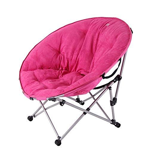Klappbare Stahlrohr-stühle (XAJGW Klappbare Untertasse Gepolsterter Moon Chair Comfort Lounge Schlafzimmer Gartenmöbel Sitz (Color : C, Size : 80 * 90cm))